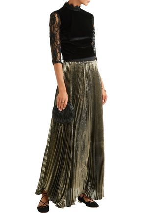 ALICE + OLIVIA Jenny cropped lace-paneled velvet top
