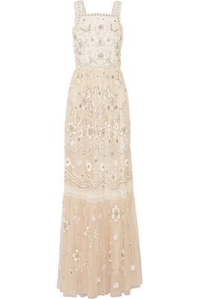 NEEDLE & THREAD Lace-trimmed embellished tulle gown