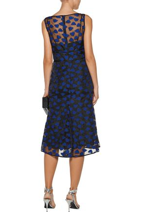 LELA ROSE Fluted embroidered organza midi dress