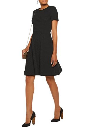 LELA ROSE Flared open-knit wool-blend dress