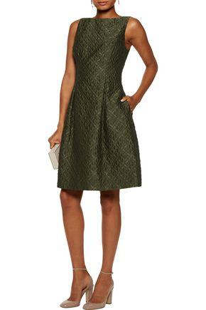LELA ROSE Betsy pleated wool-blend cloqué dress