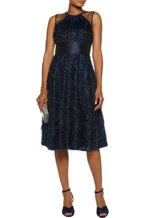 LELA ROSE Tulle-paneled fil coupé organza midi dress
