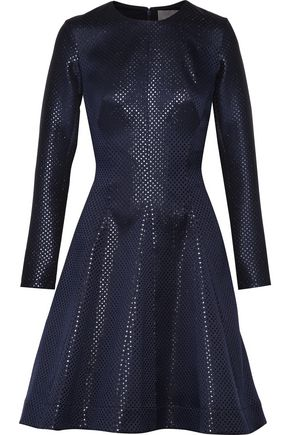 LELA ROSE Pleated metallic jacquard dress