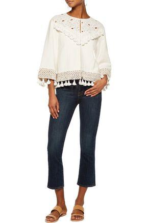RACHEL ZOE Agnes broderie anglaise-paneled cotton-blend matelassé jacket
