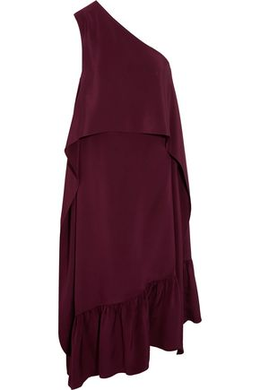 TIBI One-shoulder silk crepe de chine midi dress
