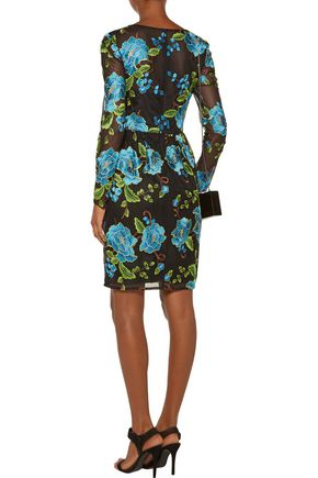 MIKAEL AGHAL Floral-embroidered tulle dress