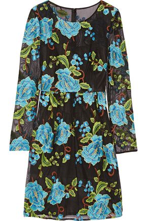 MIKAEL AGHAL Floral embroidered tulle mini dress