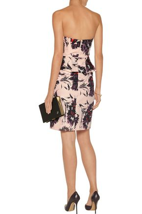 MIKAEL AGHAL Printed cotton peplum dress