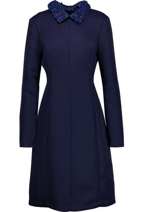 MIKAEL AGHAL Faux leather-trimmed crepe dress