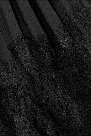 MIKAEL AGHAL Lace and plissé crepe de chine dress