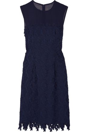 MIKAEL AGHAL Tulle-trimmed guipure lace dress