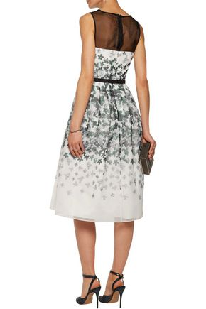 MIKAEL AGHAL Belted printed washed-organza dress