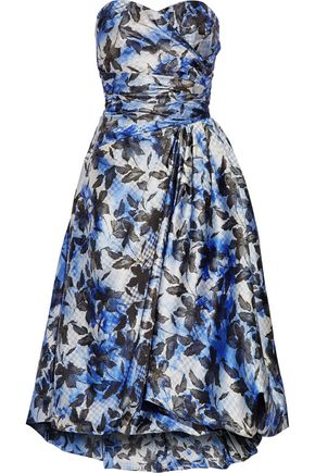 MIKAEL AGHAL Strapless pleated printed crepe midi dress