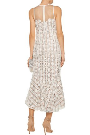 MIKAEL AGHAL Pleated embroidered tulle midi dress