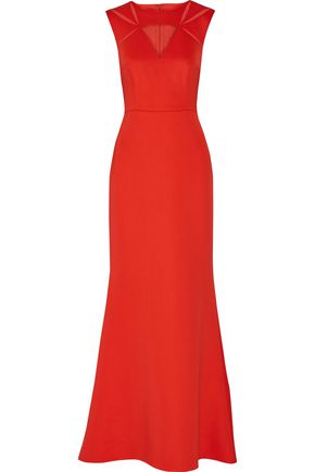 MIKAEL AGHAL Tulle-paneled stretch-crepe gown