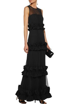 MIKAEL AGHAL Paneled ruffled tulle gown