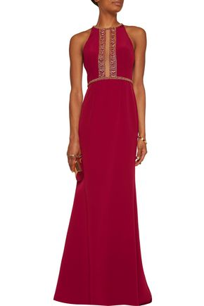 MIKAEL AGHAL Bead-embellished tulle-trimmed crepe gown