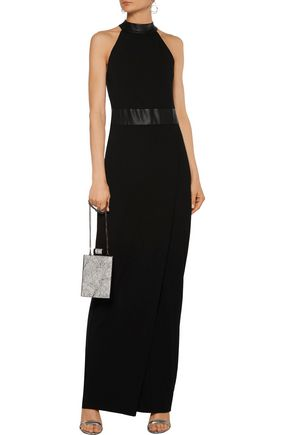 L'AGENCE Isabelle faux leather-trimmed stretch-jersey maxi dress