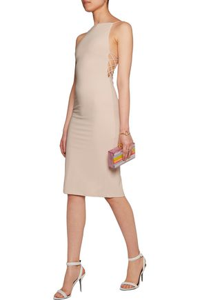 ALICE + OLIVIA Kia open-back lattice-trimmed stretch-jersey dress