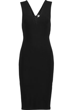 ALICE + OLIVIA Asha lace-up stretch-crepe dress