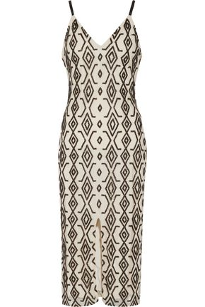 ALICE + OLIVIA Arlette beaded tulle midi dress