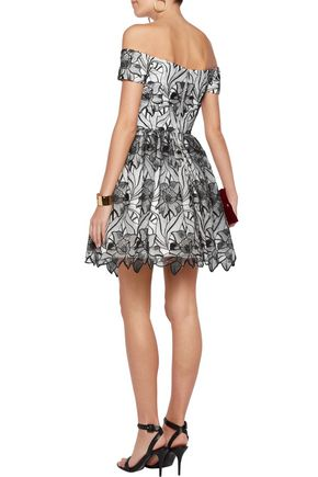 ALICE + OLIVIA Izabelle off-the-shoulder embroidered tulle mini dress