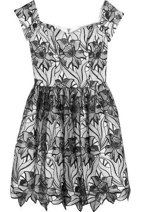 ALICE + OLIVIA Izabelle off-the-shoulder embroidered tulle mini dress