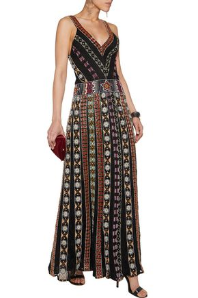 ALICE + OLIVIA Ersa embellished silk and lace gown