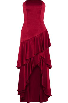 ALICE + OLIVIA Darcey asymmetric ruffled satin gown