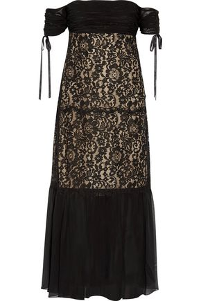 RACHEL ZOE Arlene off-the-shoulder lace and silk-georgette dress