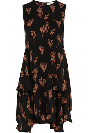 A.L.C. Frances asymmetric floral-print silk-crepe mini dress
