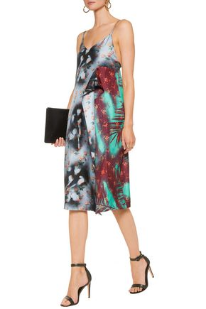 ACNE STUDIOS Clemente asymmetric printed silk-crepe midi dress