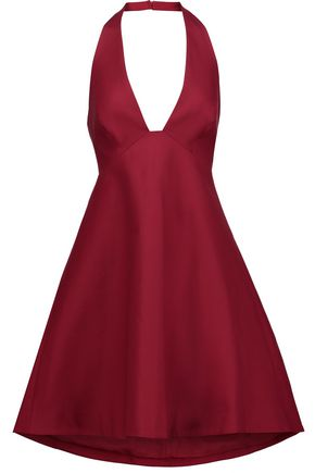 HALSTON HERITAGE Open-back stretch-cotton halterneck mini dress