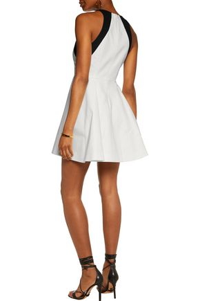 HALSTON HERITAGE Two-tone cotton-blend poplin mini dress