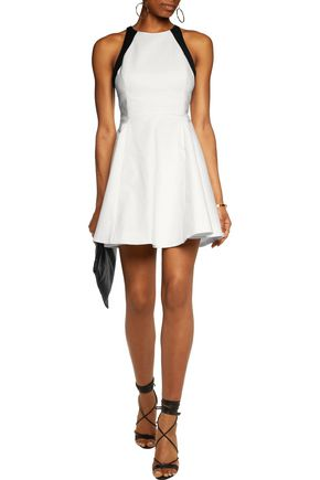 Halston Heritage Two Tone Cotton Blend Cady Mini Dress