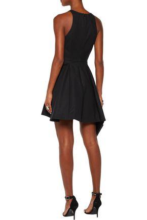 HALSTON HERITAGE Pleated stretch cotton-canvas mini dress