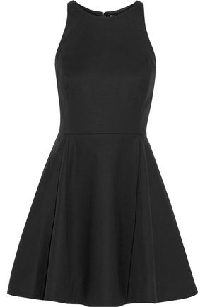 HALSTON HERITAGE Pleated stretch cotton-canvas mini dress
