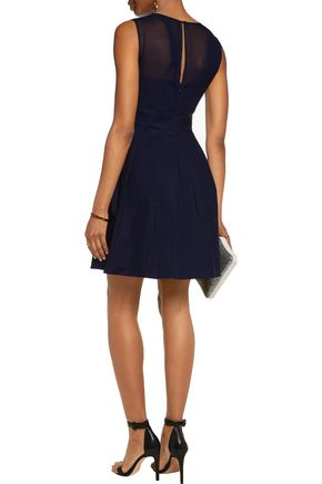 HALSTON HERITAGE Chiffon-paneled cotton-blend mini dress