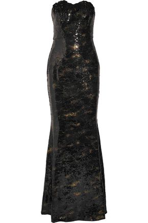 MARCHESA NOTTE Appliquéd sequined crepe gown