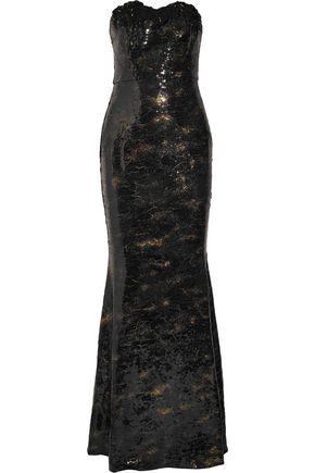 MARCHESA NOTTE Appliquéd sequined crepe gown