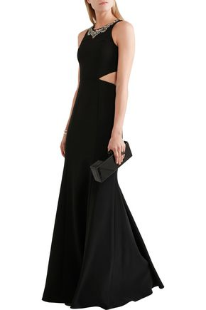 MARCHESA NOTTE Cutout embellished stretch-crepe gown