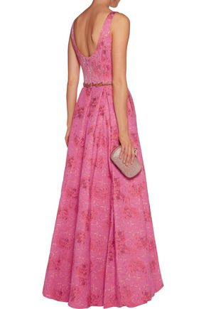 MARCHESA NOTTE Beaded jacquard gown