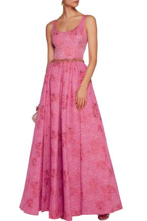 MARCHESA NOTTE Textured crepe gown