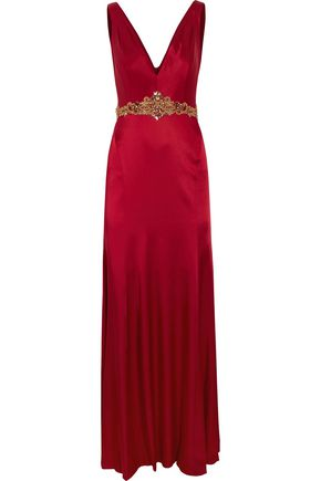 MARCHESA NOTTE Embrodered satin gown