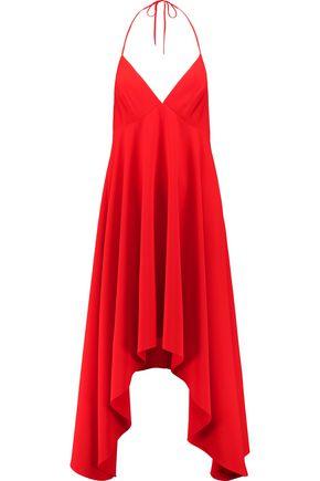 HALSTON HERITAGE Halterneck asymmetric crepe midi dress