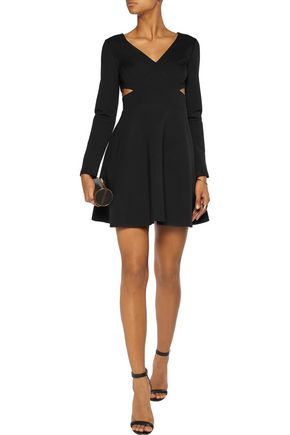 HALSTON HERITAGE Cutout stretch-ponte mini dress