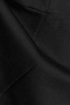 HALSTON HERITAGE Cutout pleated ponte mini dress