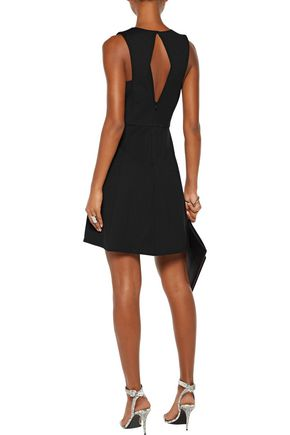 HALSTON HERITAGE Cutout pleated ponte mini dress