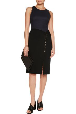 3.1 PHILLIP LIM Button-embellished two-tone crepe and textured-wool dress