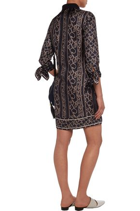 3.1 PHILLIP LIM Crochet-trimmed printed silk mini dress